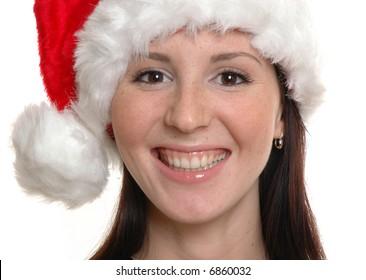 laughing girl in santa cap