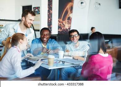 Laughing group-mates