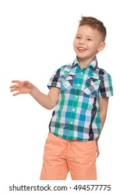 Laughing little boy with a fashionable hairstyle on the head . close-up - Isolated on white background