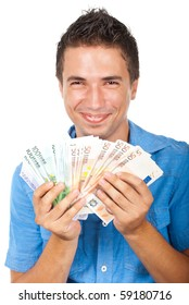 Laughing man extremely happy won a lot of euro money isolated on white background