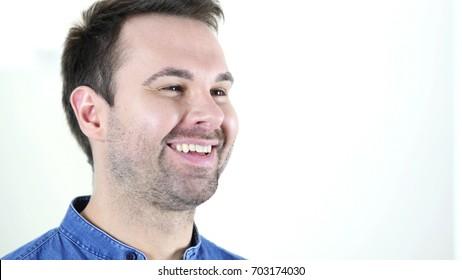 Laughing Man Face Close Up