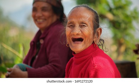 Laughing out loud Old Grandmother mother,  happy moment of Grandmother mother, nepali women smiling  in Damauli Nepal, shot taken    2/23/202
