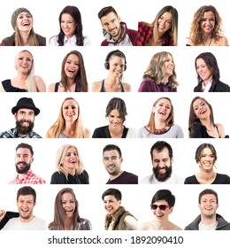 Laughing people faces. Set of different happy people laugh expressions portraits isolated on white background.