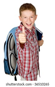 Laughing school boy with thumbs up isolated on white