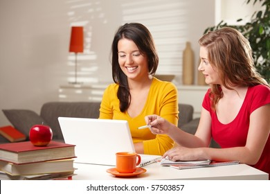 Laughing schoolgirls looking at laptop, blond girl pointing at screen.?