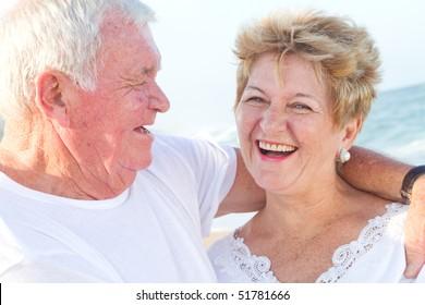 laughing senior couple closeup