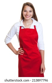 Laughing waitress with red apron