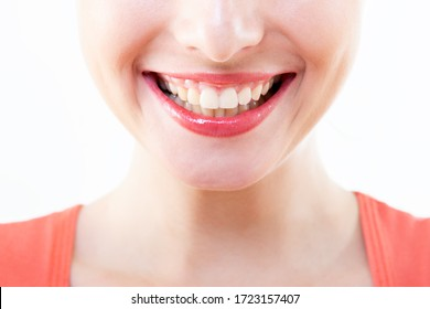 Laughing woman, female mouth with great teeth over white background. Healthy beautiful smile. Teeth health, whitening, prosthetics and care.
