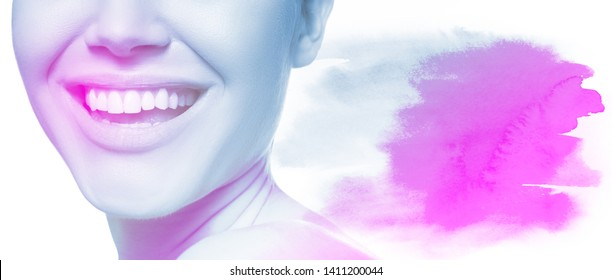 Laughing woman with great teeth with hand drawn watercolor element like copy space for text message over white background. Healthy beautiful female smile. Teeth health, whitening, prosthetics and care