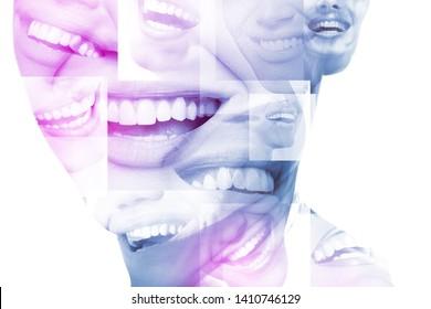 Lachen Mund mit großartigen Zähnen auf weißem Hintergrund. Gesunde schöne weibliche Lächeln. Zähne Gesundheit, Weiß, Prothesen und Pflege.