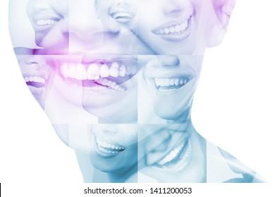 Lachen Frauen und Mann mit großartigen Zähnen auf weißem Hintergrund. Gesunde schöne männliche und weibliche Lächeln. Zähne Gesundheit, Weiß, Prothesen und Pflege. Set von perfektem Lächeln. Fröhliche Leute, Details.