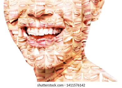 Laughing women and man with great teeth over white background. Healthy beautiful male and female smile. Teeth health, whitening, prosthetics and care. Set of perfect smiles. Happy people, detail.