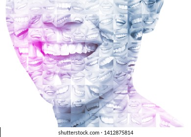 Laughing women and man with great teeth over white background. Healthy beautiful male and female smile. Teeth health, whitening, prosthetics and care. Set of perfect smiles. Happy people, toned.