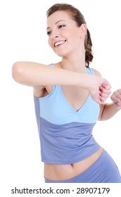laughing young girl doing physical exercise - isolated
