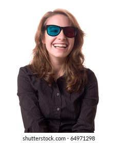 Laughing young woman with anaglyph 3D glasses
