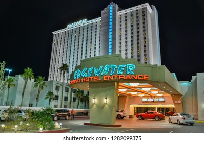 Laughlin, Nevada, United States of America - January 5, 2017. Exterior view of Edgewater hotel in Laughlin, NV, at night, with cars.