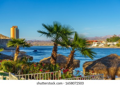 Laughlin, NV / USA – February 16, 2020: Palm trees with palapa umbrellas with a view of the Colorado River, Laughlin River Lodge Casino, and the shore of Bullhead City, Arizona.
