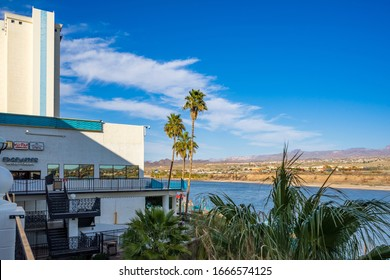 Laughlin, NV / USA – February 17, 2020: View of the Colorado River and Bullhead City, Arizona from The Edgewater Hotel and Casino in Laughlin, Nevada.