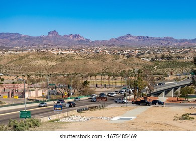 Laughlin, NV / USA – February 19, 2020: The intersection of Casino Drive and HWY 163 at the Colorado River to Bullhead City, Arizona as seem from Laughlin, Nevada.