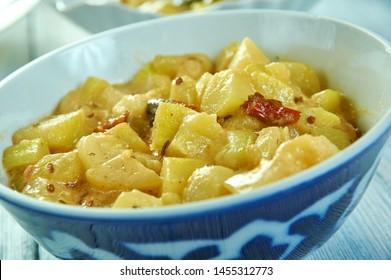Lauki ki Sabji, Indian kitchen, bottle gourd curry.