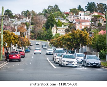 Launceston, TAS/Australia-June 16th 2018: urban street view with residential houses in distance.