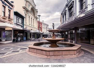 Launceston Tasmania Australia August 2018 Quadrant Mall - water fountain and shop front view