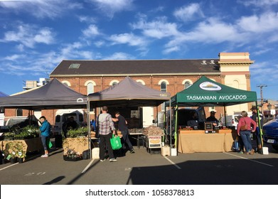 Launceston, Tasmania, Australia: March 31, 2018: People enjoy browsing the fresh produce street market in Launceston town centre.