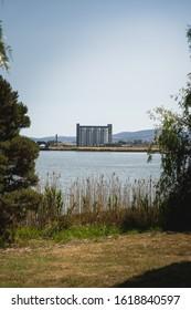 Launceston, Tasmania - January 3rd 2020: Views across the River Tamar of Peppers Silo Launceston. Taken from Kings Park.