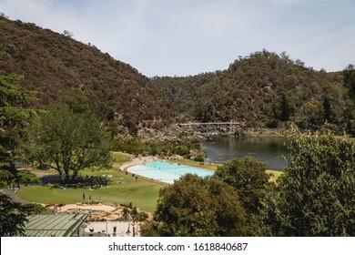 Launceston, Tasmania - January 3rd 2020: Stunning views of the swimming pool and First Basin at Cataract Gorge.