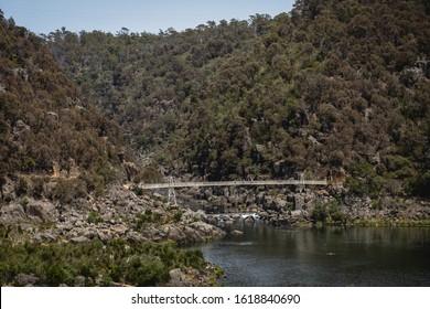 Launceston, Tasmania - January 3rd 2020: The Alexandra Suspension Bridge at Cataract Gorge.