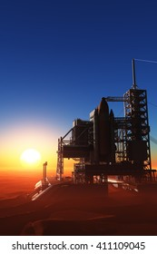 The launch against the sky.,3d render
