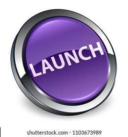 Launch isolated on 3d purple round button abstract illustration