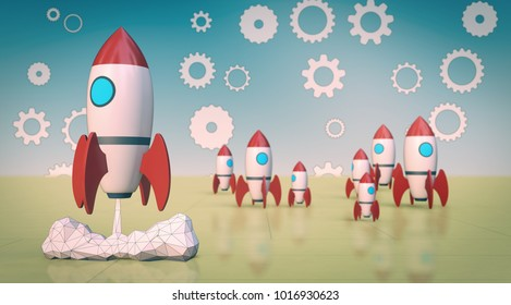 the launch of a rocket with other rockets on background, concept of startup (3d render)
