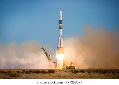 Launch of the Soyuz rocket from the launch pad of the Baikanur cosmodrome, Cosmonautics, launch of the rocket launch