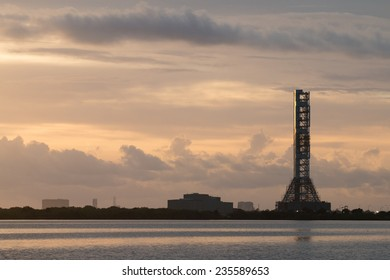 Launch tower at sunrise in Kennedy space center, Orlando, Florida