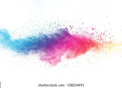 Launched colorful dust, isolated on white background