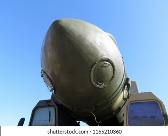 """Launcher Russian strategic missile systems RT-2PM """"Topol"""" on blue sky background (NATO codification SS-27 Sickle B). Russian nuclear weapons"""