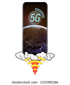 launching 5G smartphone with planet Earth on screen, isolated on white background. Elements of this image furnished by NASA