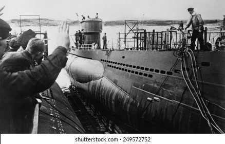 Launching of a German U-Boat during World War 2, ca. 1943 or 1944.
