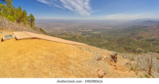 Launching point for hang gliding enthusiasts at the summit of Mingus Mountain near Jerome Arizona. City in the distance is Cottonwood. Recreation area is open to the public. No property release needed