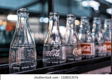 LAUNDA/ANGOLA - 23 MAY 2018 - coca cola factory, ready-to-fill bottles on the line.