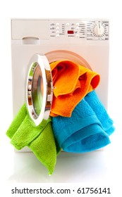 Laundromat with colorful laundry isolated over white