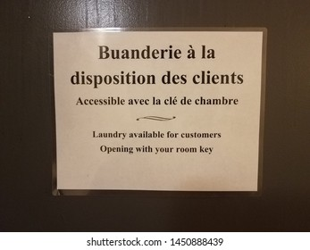 laundry available for customers sign in French and English