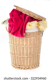 Laundry Basket with colorful laundry over white