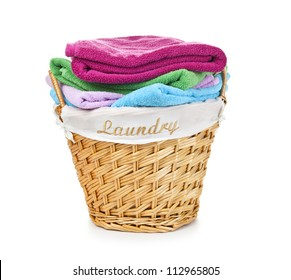 Laundry Basket with colorful towel