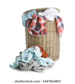 Laundry basket with dirty clothes isolated on white