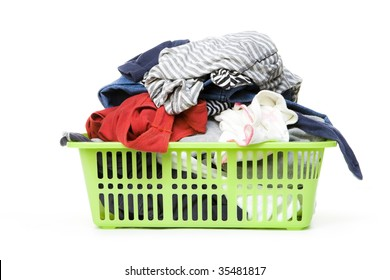Laundry basket and dirty clothing