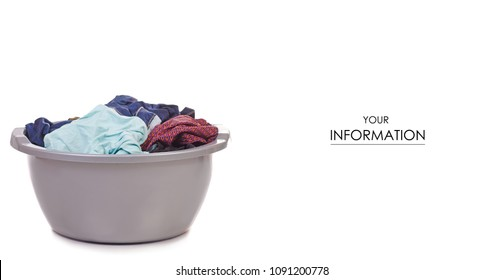 Laundry basket dirty wash clean pattern on white background isolation