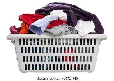 Laundry in a basket - isolated on a white background