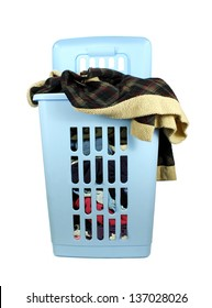Laundry basket with pile of dirty clothes